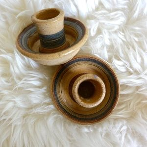 Set of Studio Pottery Candle Holders